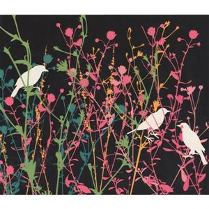 Retro Art Birds and Shrubs Wallpaper - Charcoal Grey