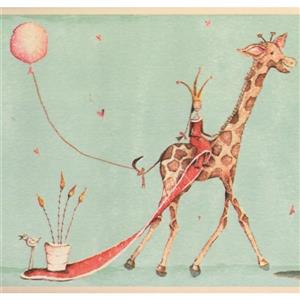 York Wallcoverings Princesses and Giraffe Wallpaper - Mint Green