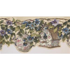 Retro Art Birdhouse and Vine Wallpaper - Blue