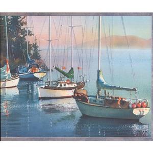 Retro Art Sailboats and Lake Wallpaper Border