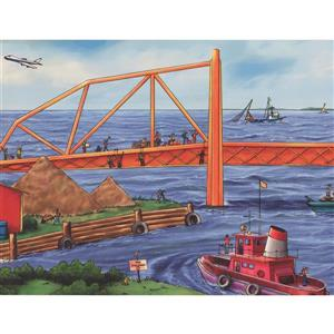 Retro Art Construction Project by Sea Bridge Wallpaper