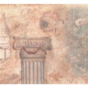 Retro Art Pillar and Flowers Wallpaper - Beige