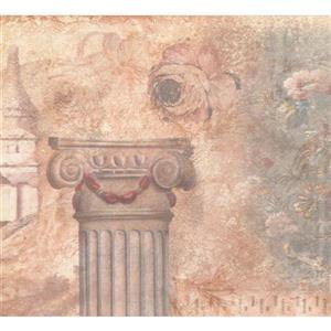 Retro Art Pillar and Flowers Wallpaper - Beige