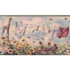 Retro Art Clothes Line and Sunflowers Wallpaper