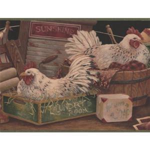 Retro Art White Hens Wallpaper