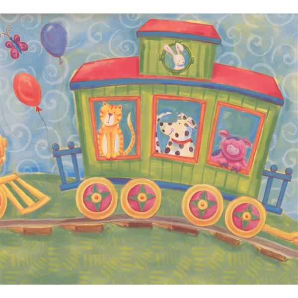 Retro Art Kids Cartoon Animals On Train Wallpaper Rona