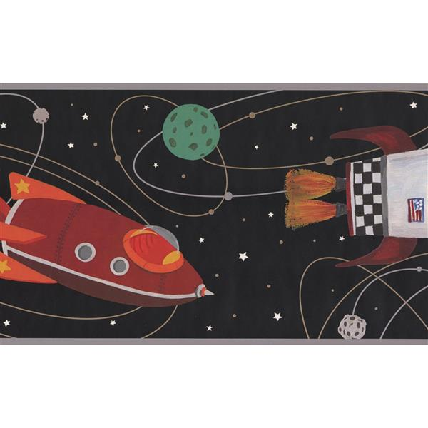 York Wallcoverings Kids Rocket and Spaceship Wallpaper Border - Black