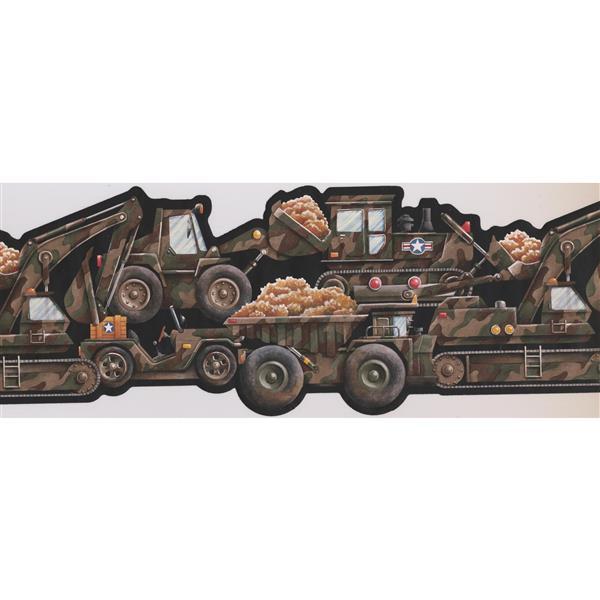 Retro Art Camouflage Truck Wallpaper Border