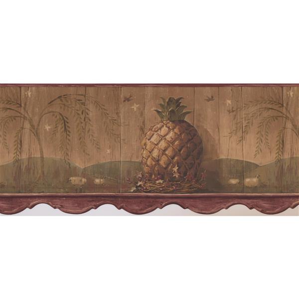 Retro Art Vintage Pineapple and Berries Wallpaper