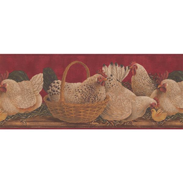 Retro Art Chicken and Baskets Wallpaper
