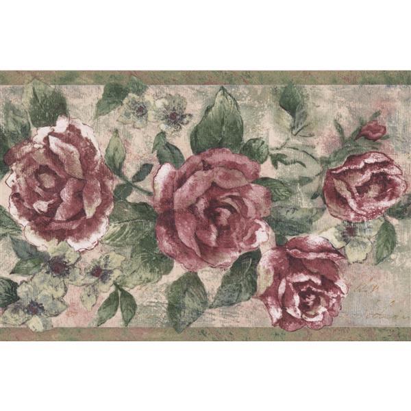 Retro Art Vintage Roses on Vine Wallpaper Border - Magenta