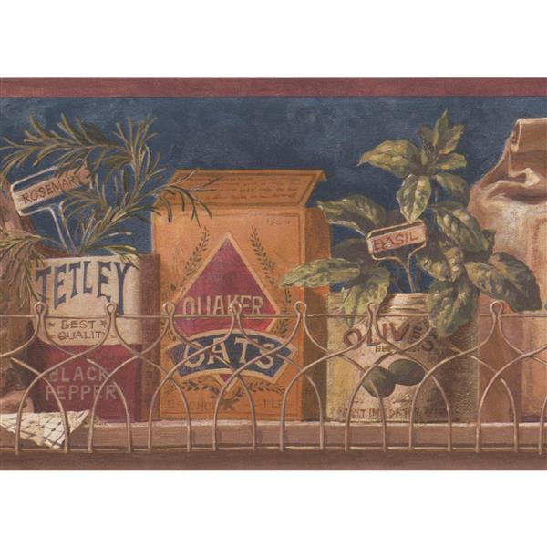 Retro Art Vintage Kitchen Spice Boxes Wallpaper - Blue