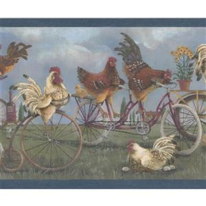 Retro Art Roosters on Bikes Wallpaper Border