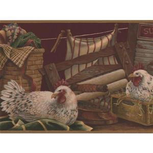 Retro Art Hens in Laundry Room Wallpaper