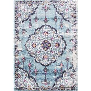 Tapis Sovereign abstrait de Novelle Home, 5' x 8', bleu