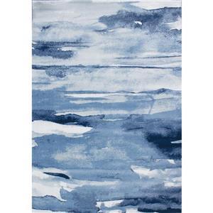 Tapis Paladin abstrait de Novelle Home, 5' x 8', bleu