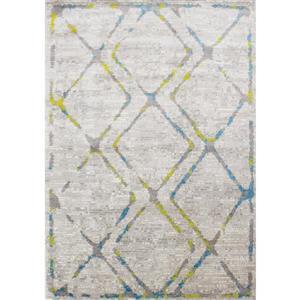 Tapis Meridian abstrait de Novelle Home, 8' x 11', gris