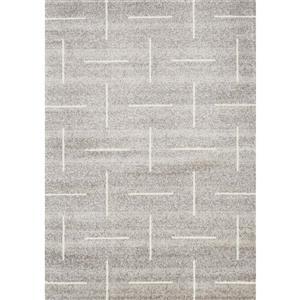 Tapis Meridian géométrique de Novelle Home, 7' x 10', gris