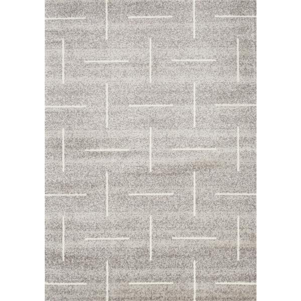 Tapis Meridian géométrique de Novelle Home, 5' x 8', gris