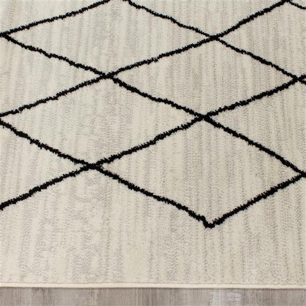 Tapis Meridian abstrait de Novelle Home, 5' x 8', gris