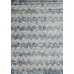 Tapis Meridian abstrait de Novelle Home, 5' x 8', bleu