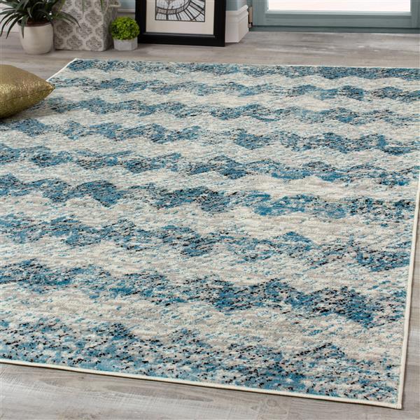 Tapis Meridian abstrait de Novelle Home, 8' x 11', bleu