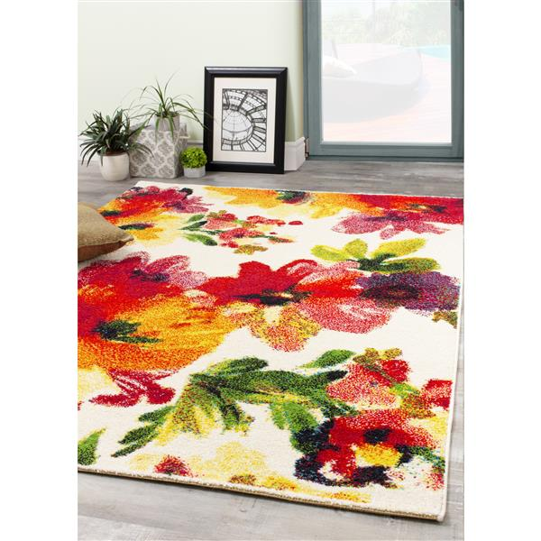 Novelle Home Equinox Floral Rug - 5' x 8' - Red