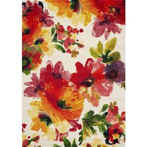 Tapis Equinox floral de Novelle Home, 5' x 8', rouge