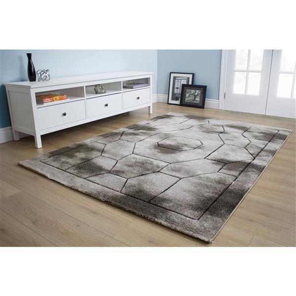 Tapis Hudson géométrique de Kalora, 5' x 8', gris