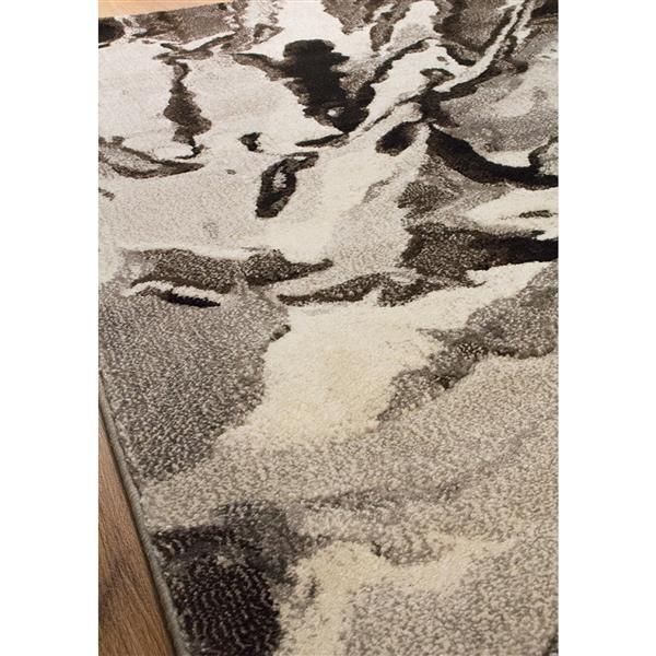 Tapis Flint abstrait de Kalora, 5' x 8', blanc
