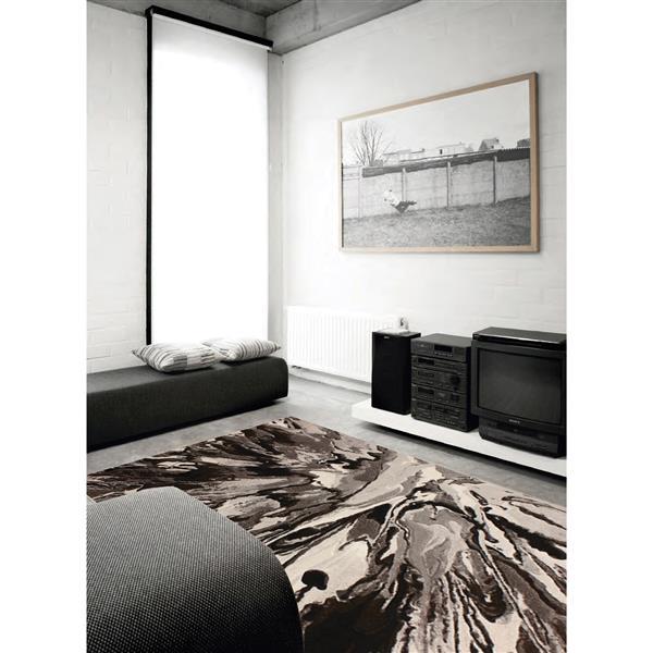 Tapis Flint abstrait de Kalora, 8' x 11', blanc