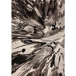 Tapis Platinum abstrait de Kalora, 3 x 5', noir