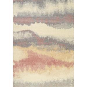 Tapis Focus abstrait de Kalora, 8' x 11', blanc