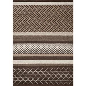 Tapis Camino géométrique de Kalora, 8' x 11', brun