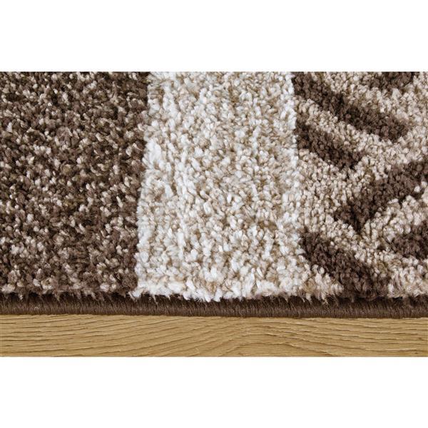 Tapis Camino géométrique de Kalora, 5' x 8', brun