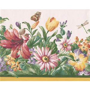 "Retro Art Wildflowers Butterfly Wallpaper Border - 15' x 8.5"" - White"