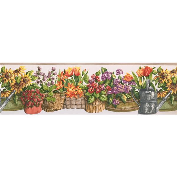 Norwall Flowers in Baskets Wallpaper Border - 15' x 7-in