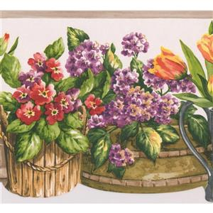 Norwall Flowers in Baskets Wallpaper Border - 15' x 7-in