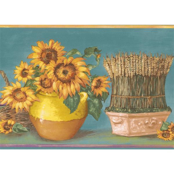 Norwall Sunflower in Pots Wallpaper Border - 15' x 7-in- Teal