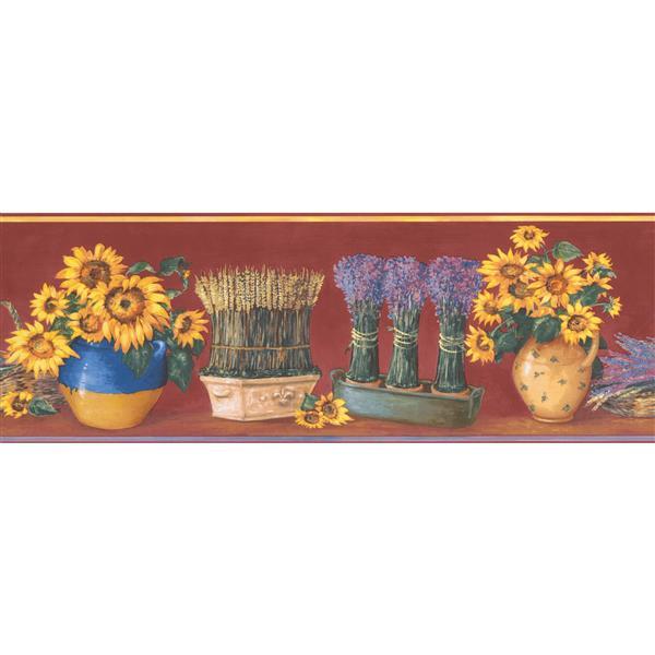 Norwall Sunflower in Pots Wallpaper Border - 15' x 7-in- Red