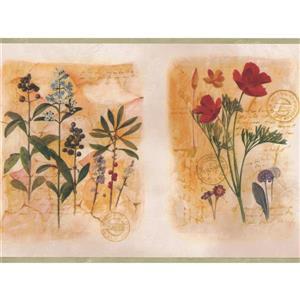 """Chesapeake Flowers on Letter Wallpaper Border - 15' x 8.25"""" - Red"""