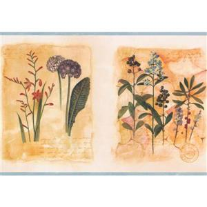 "Chesapeake Flowers on Letter Wallpaper Border - 15' x 8"" - Yellow"