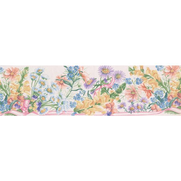 """Retro Art Meadow Flowers Wallpaper Border - 15' x 7"""" - Blue"""