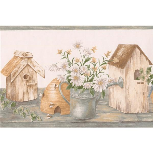 "Retro Art Flowers birdhouses Wallpaper Border - 15' x 7"" - White"