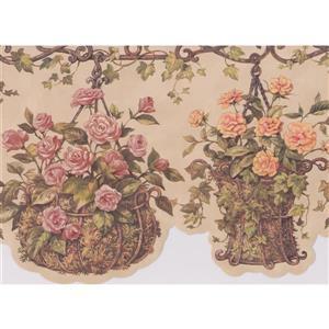 Retro Art Flowers in Hanging Pots Wallpaper Border - 15' - Beige