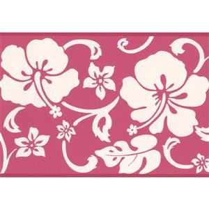 "Chesapeake Abstract Floral Wallpaper Border - 15' x 6"" - Pink"