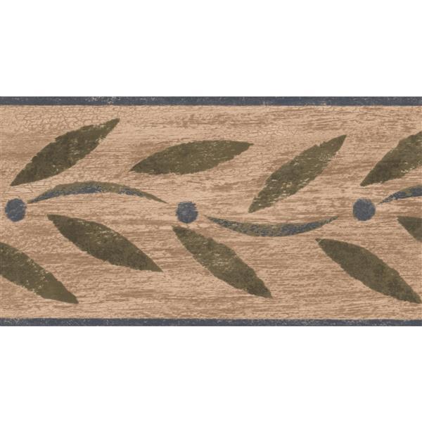 "Chesapeake Abstract Green Leaves Wallpaper Border - 15' x 4.5"" - Green"