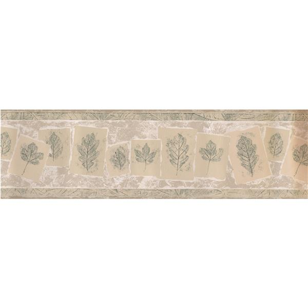 Norwall Sketched Leaves on Cards Wallpaper Border - 15' x 7-in- Beige