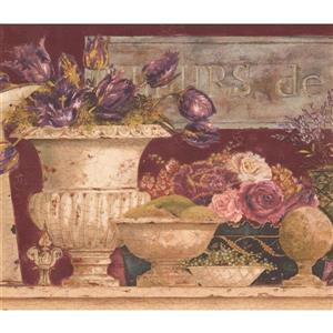"Retro Art Flowers on Mantel Wallpaper Border - 15' x 10.5"" - Pink"