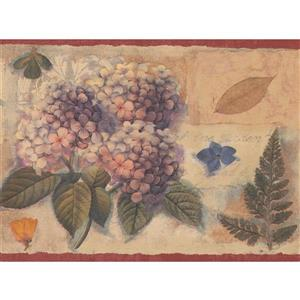 "Chesapeake Rustic Floral Wallpaper Border - 15' x 7"" - Beige"